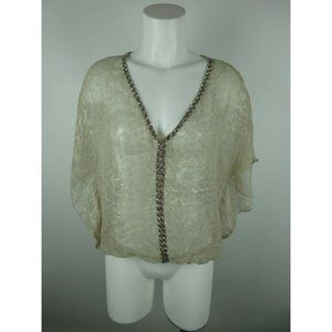 Forever 21 Polyester Sheer Batwing Blouse Top